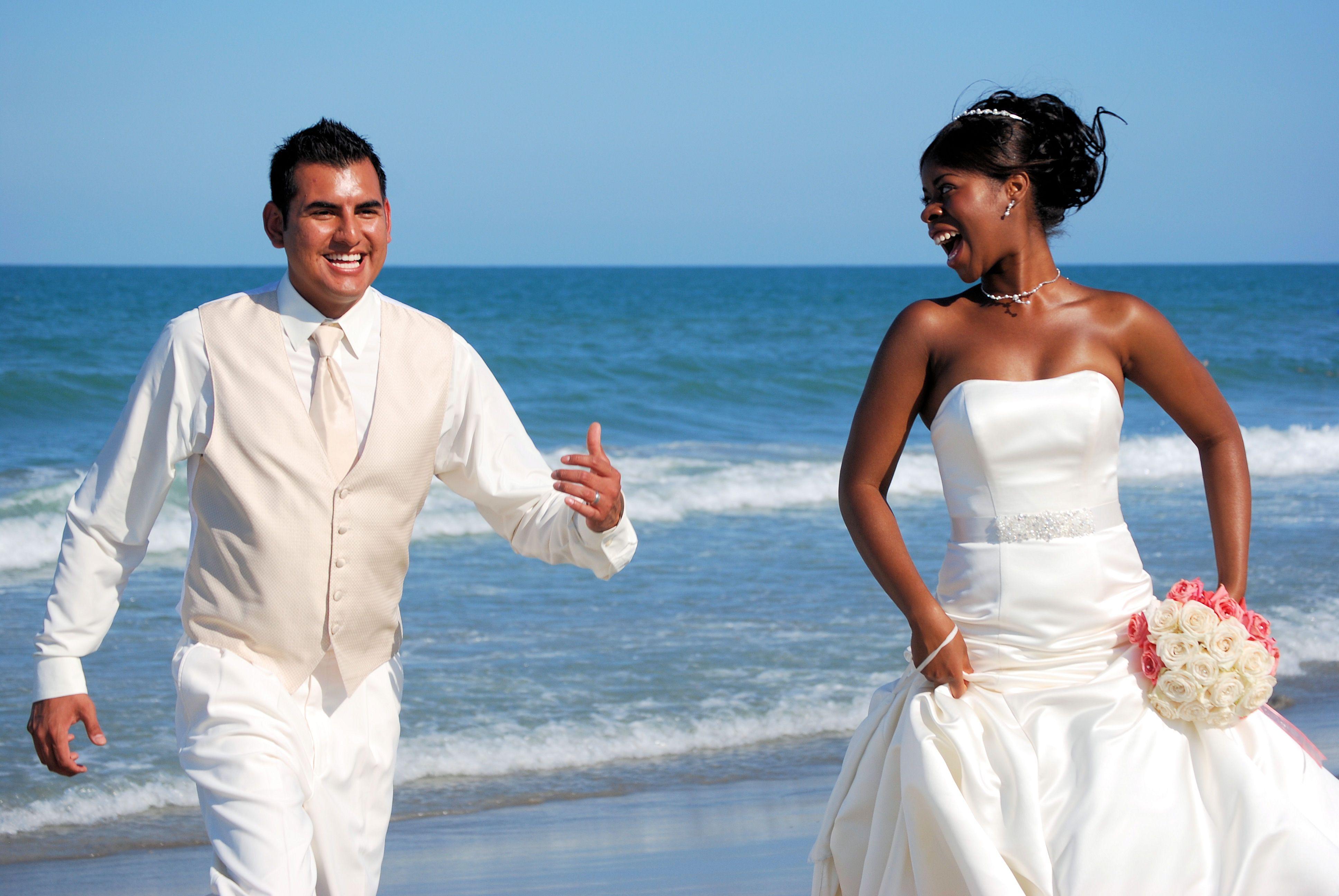 Florida beach wedding, cute couple. www