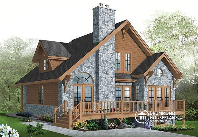 w3945 v1 3 bedroom 4 season chalet with large garage house plans chalets and rustic home design