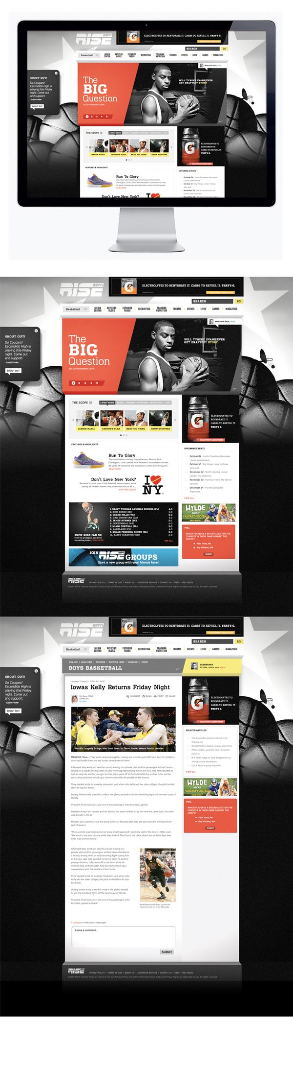 Espn Rise By Moosesyrup Via Behance Webdesign Web Design Inspiration Interactive Web Design Web Design