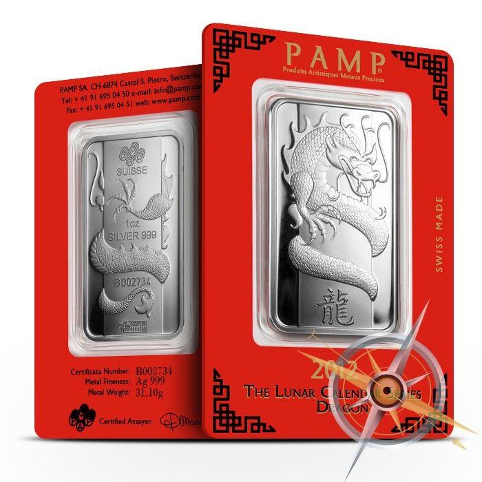 2012 Pamp Suisse 1 Oz Lunar Dragon 999 Silver Bar Silver Bars