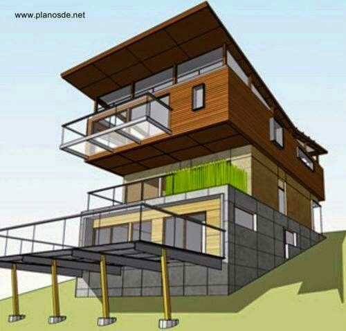 Hillside Plan With Garage Under 69131am: Pin By Memory On Tree Houses