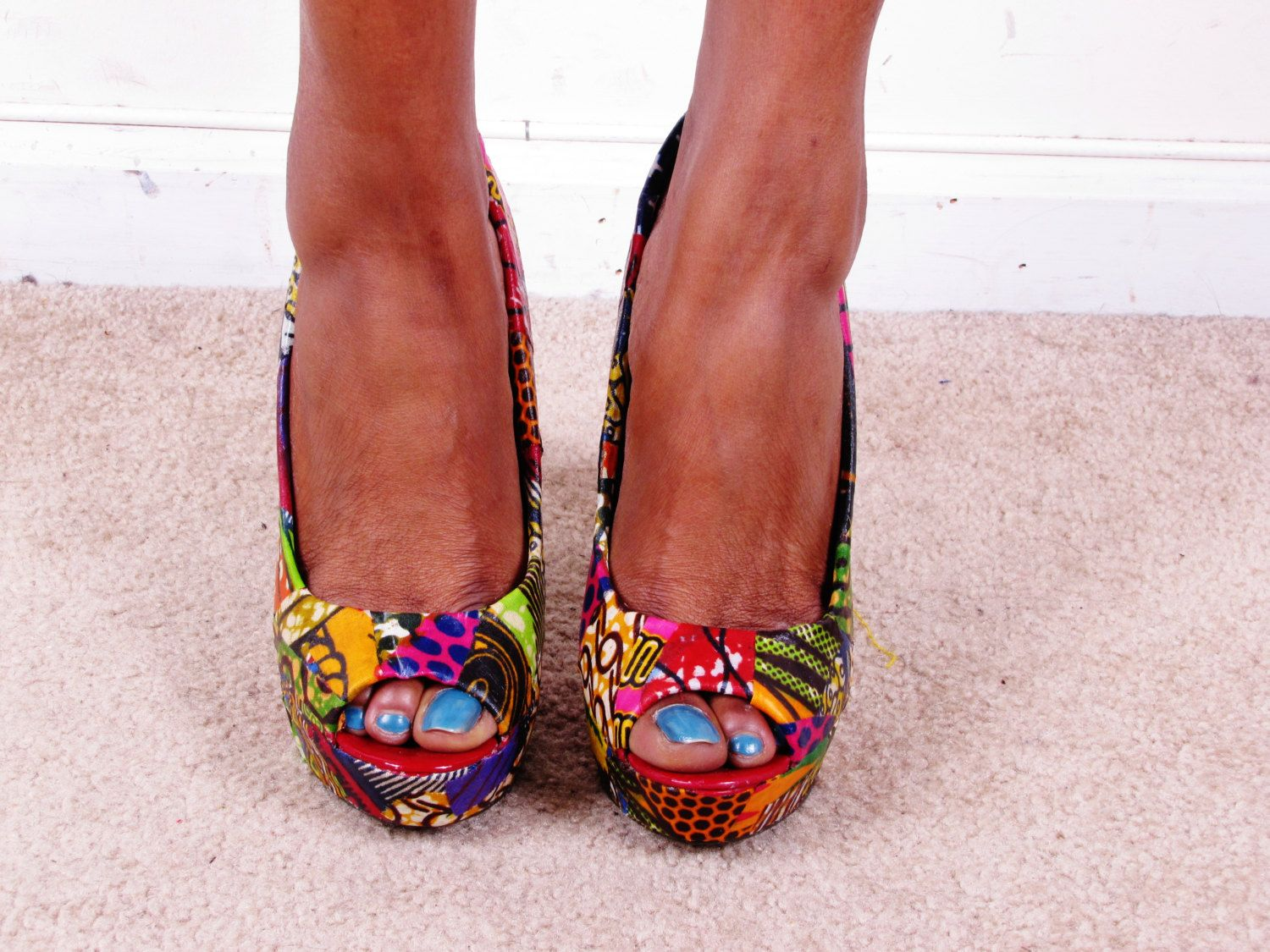 ece7e566a444b Ankara African Print Patchwork Reconstructed Ankle Platform Chunkly ...