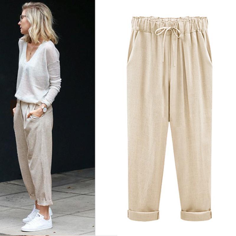 Summer Mens Casual Loose Waist Thin Cotton Linen Pants Trousers Fashion Sport SZ