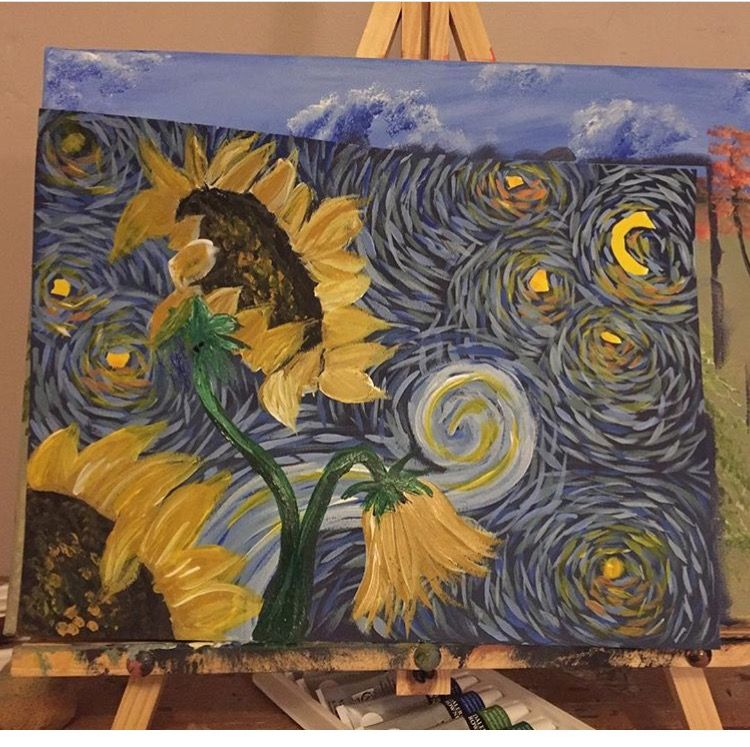 Van Gogh inspired sunflowers, inspiration via the Art Sherpa!