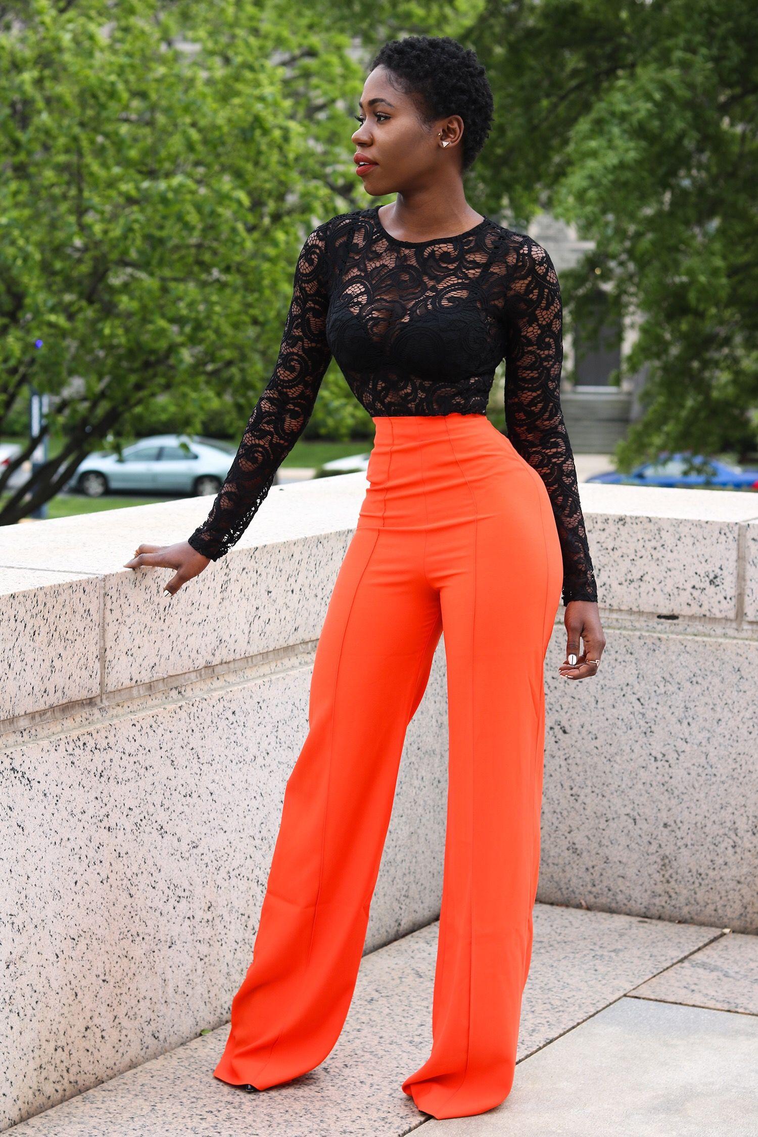 117f7fa1fa8 Lace bodysuit   high waisted flared pants