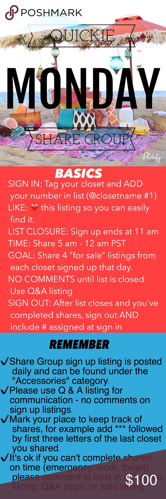 ⭕️OPEN⭕️SEPTEMBER 12✏️SIGN UP SHEET QUICKIE SG 🔆PC (Posh Compliant) closets ONLY!         🔆See guidelines above before signing up 🔆Have fun!  🔆Sharing is caring! 🔆Wishing you many sales! Accessories