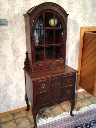 Antique Secretary Desk Cly Tall With Built In Grebe Radio