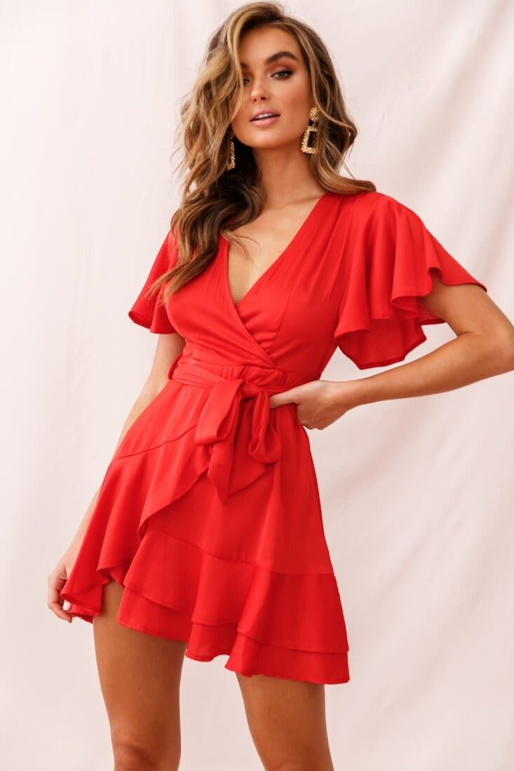 Cami Angel Sleeve Faux Wrap Dress Red - Red dress outfit, Cute red dresses, Red dress, Wrap dress, Faux wrap dress, Hot party dresses - Cami Angel Sleeve Faux Wrap Dress Red