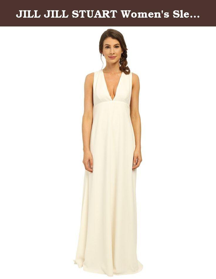 Jill stuart women   sleeveless deep  cape gown off white dress size chart make  subtle yet stunning impression in this charming also rh pinterest