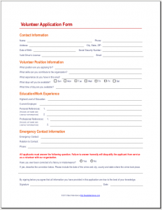 Volunteer application form | Youth Ministry Leadership Ideas ...