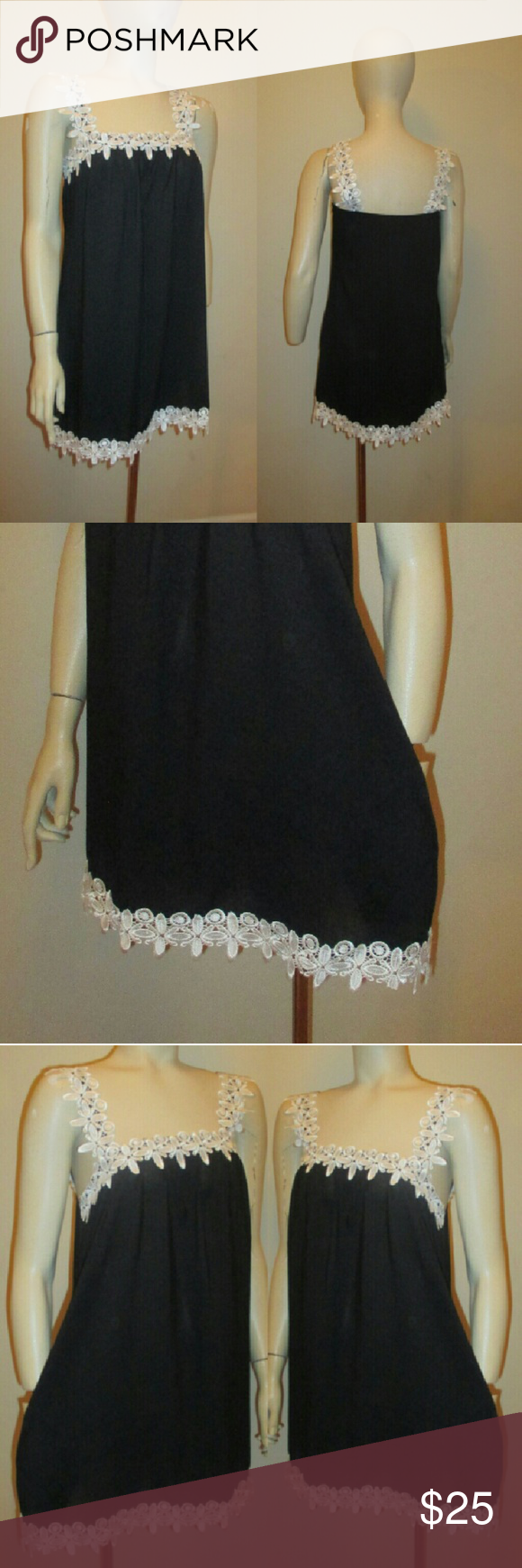 "Fancy Black and White Dress This is a stylish black dress trimmed with scallop trim.? This dress comes with 2 front pockets.? Length from shoulder strap to length of dress is 32"" Dresses"