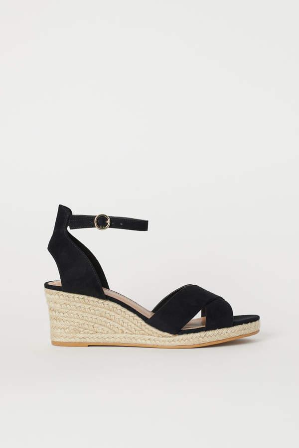 Wedge-heel Sandals - Black - Ladies | H