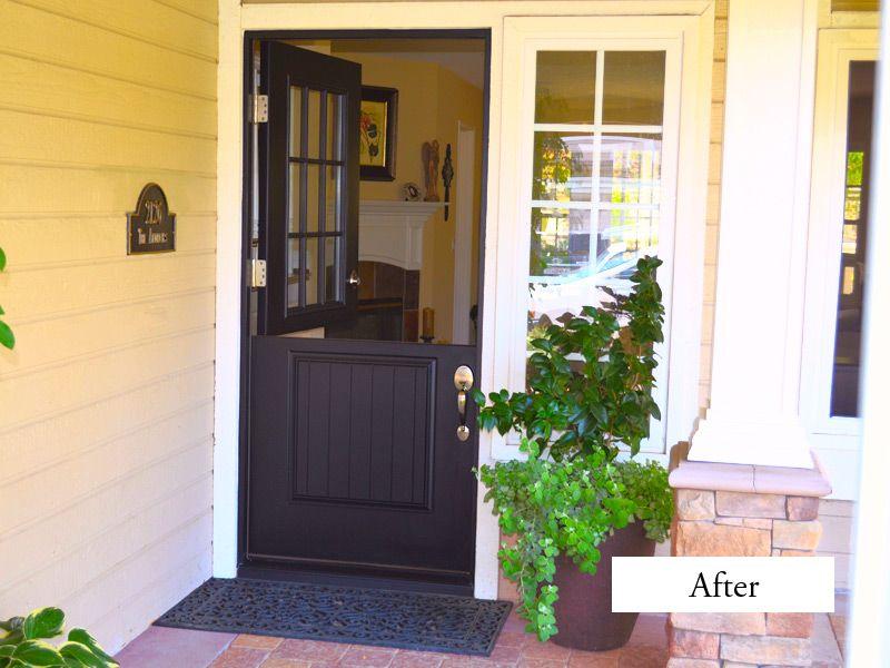 PlastPro Smooth Fiberglass Dutch Door Painted Black. Model DRS2G With  9 Light Top And