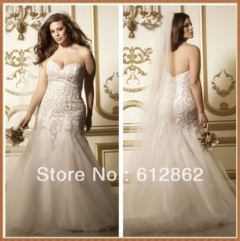 Cheap Plus Size Wedding Dress 2017 Beaded Strapless Bodice: Strapless Sweetheart Beaded Lace Bodice Mermaid Wedding