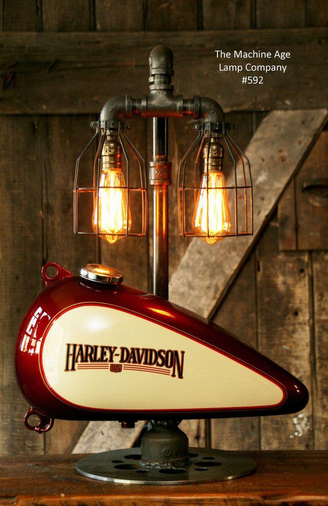 Steampunk Industrial Lamp Harley Davidson Motorcycle Gas