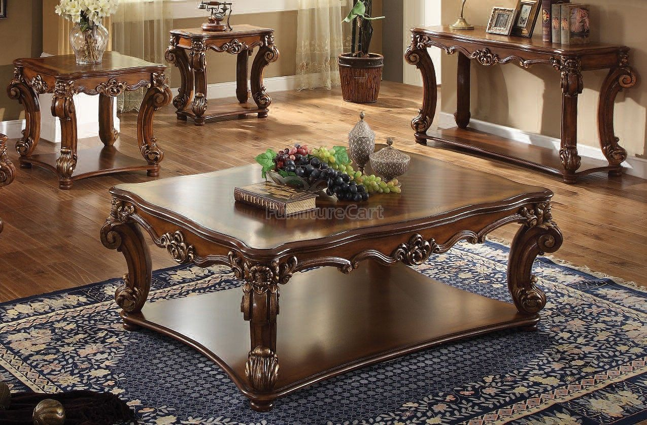 Vendome Rectangular Occasional Table Set Cherry Coffee Table Living Room Table Sets Traditional Coffee Table