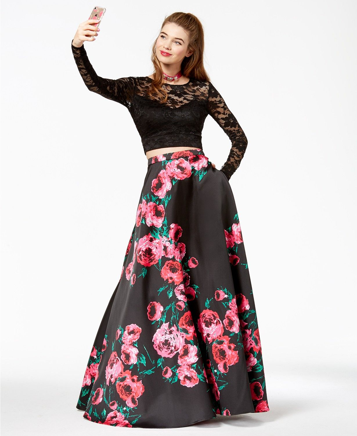 B Darlin Juniors\' Lace Printed-Skirt 2-Pc. Gown, a Macy\'s Exclusive ...