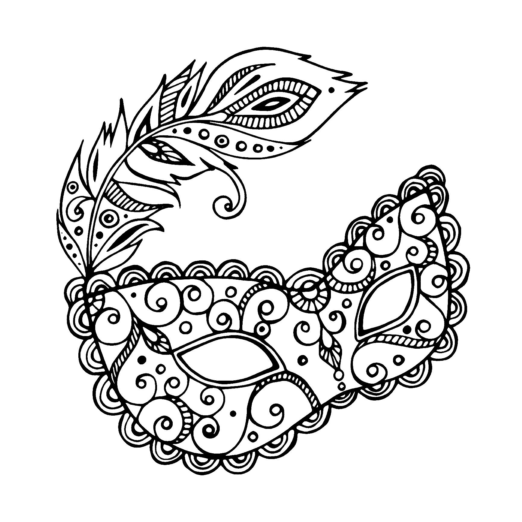 Carnival Mask Simple Carnival Coloring Pages For Adults Just