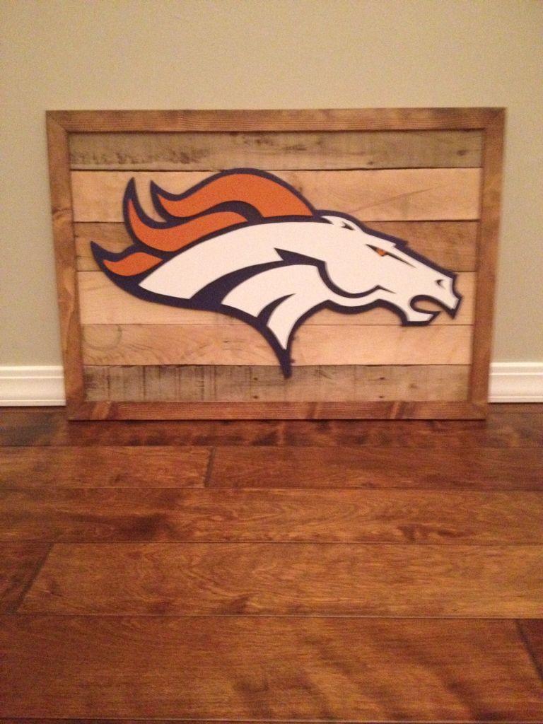 D Denver broncos logo on reclaimed wood sign - D Denver Broncos Logo On Reclaimed Wood Sign Signs Pinterest