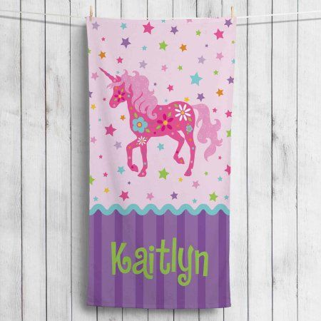 Personalized Pretty Unicorn Towel, Pink