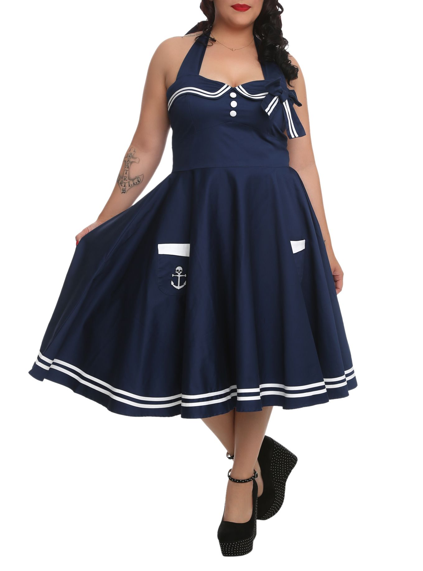 be314d582f4 Navy 50s-inspired halter dress with a nautical theme and white stripe trim. Hell  Bunny Motley ...