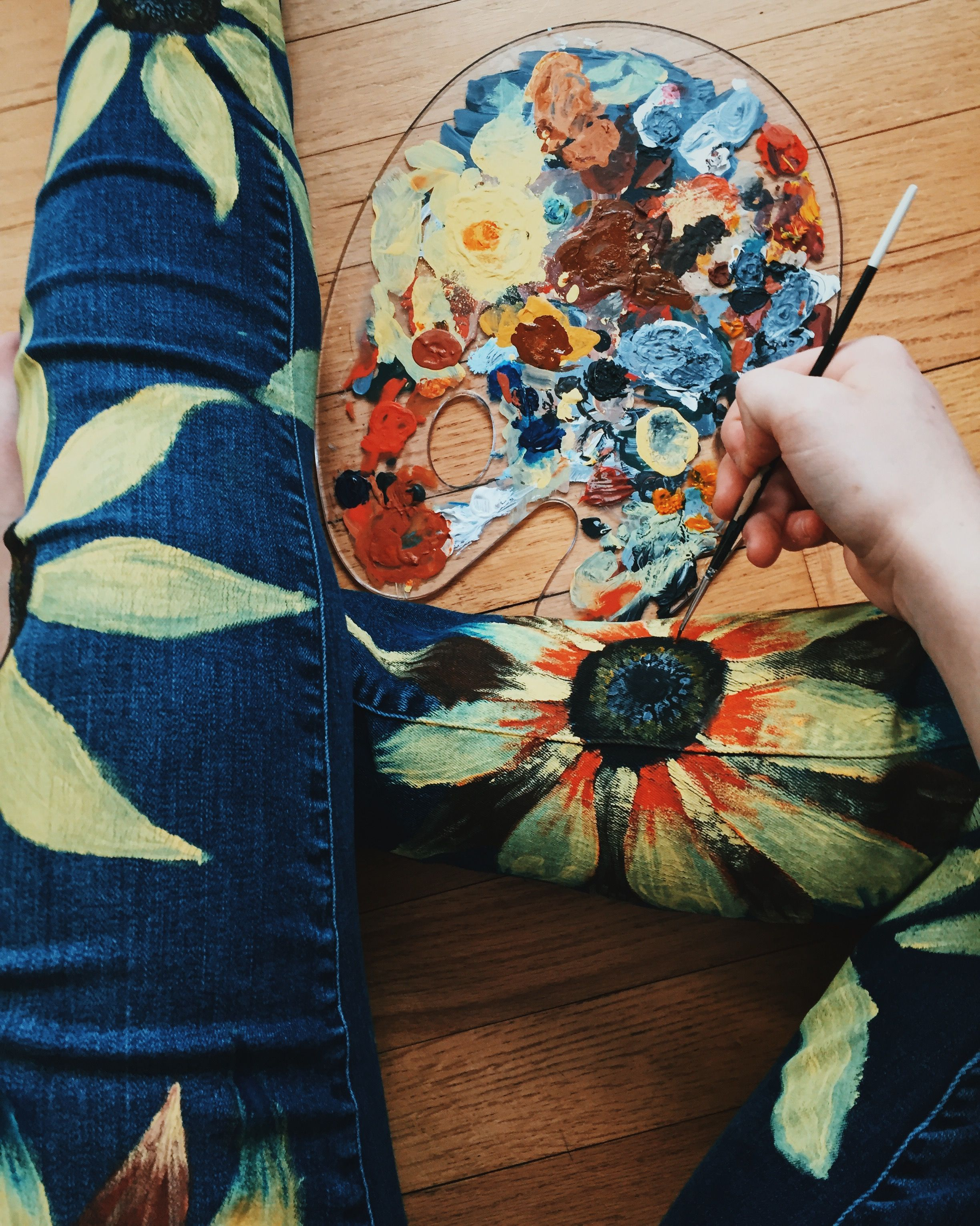 I painted my jeans with acrylic paint to add flowers fashion xx