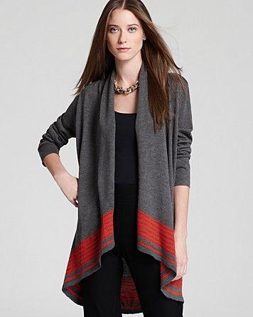 Eileen Fisher Merino Stripe Shawl Collar Long Cardigan