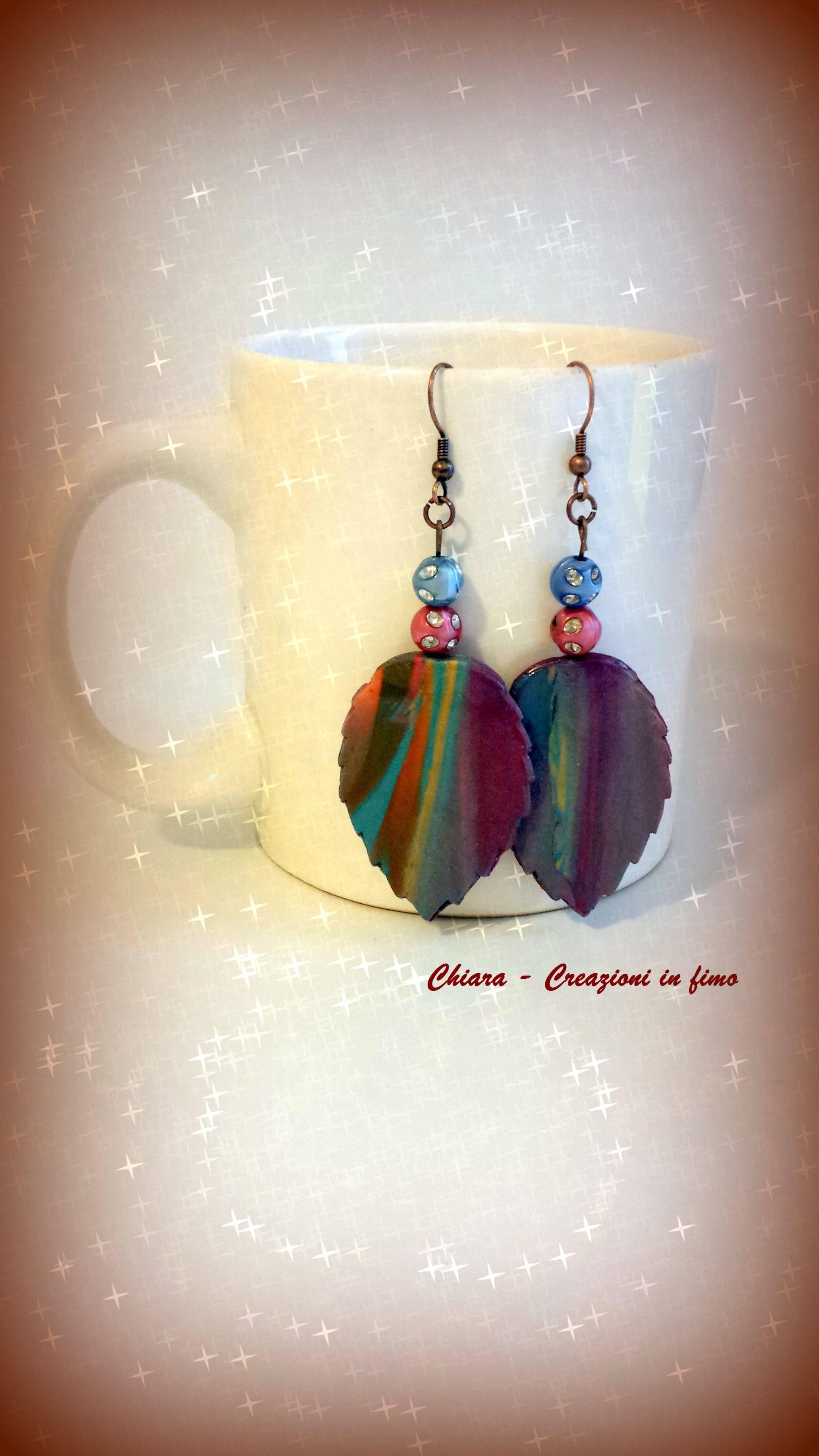 #polymerclay earrings leaves