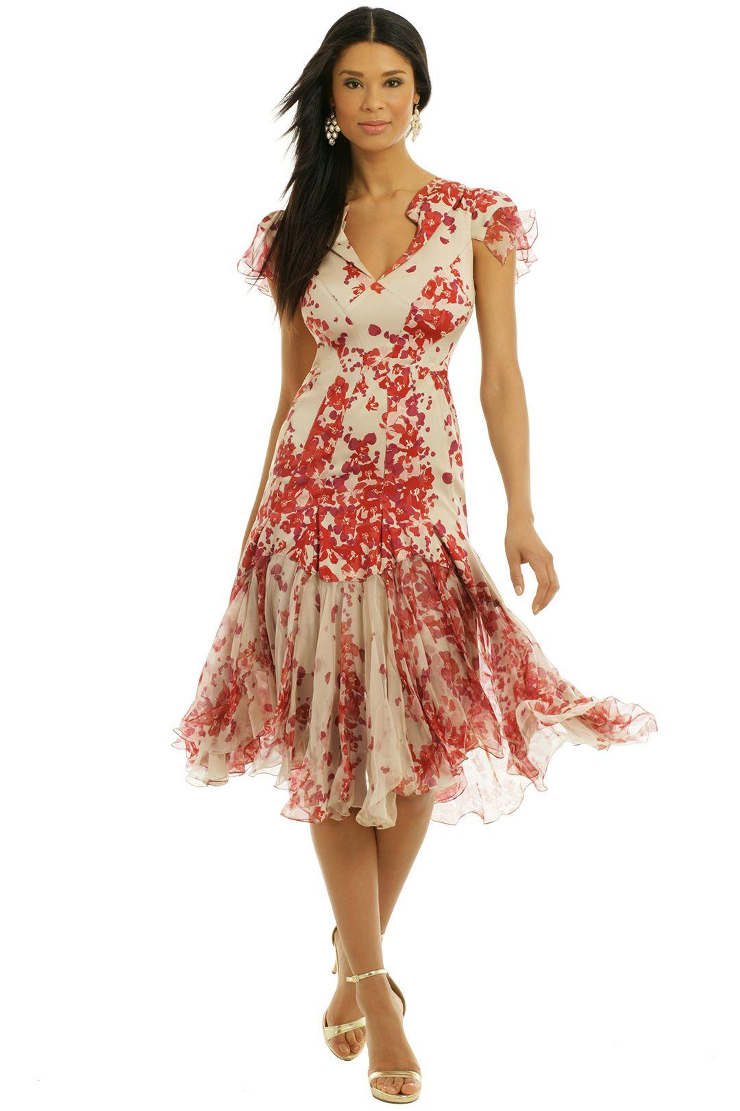 Hibiscus Print Silk Dress Winter wedding guest dress