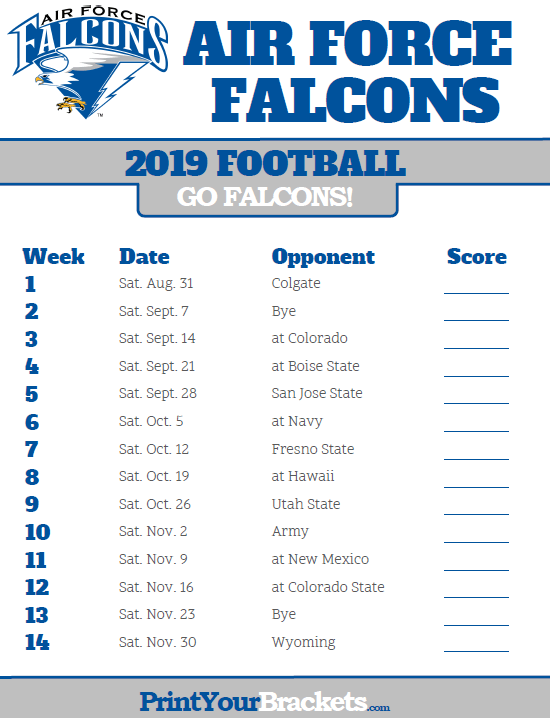 Printable 2019 Air Force Falcons Football Schedule Falcons Football Falcons Air Force