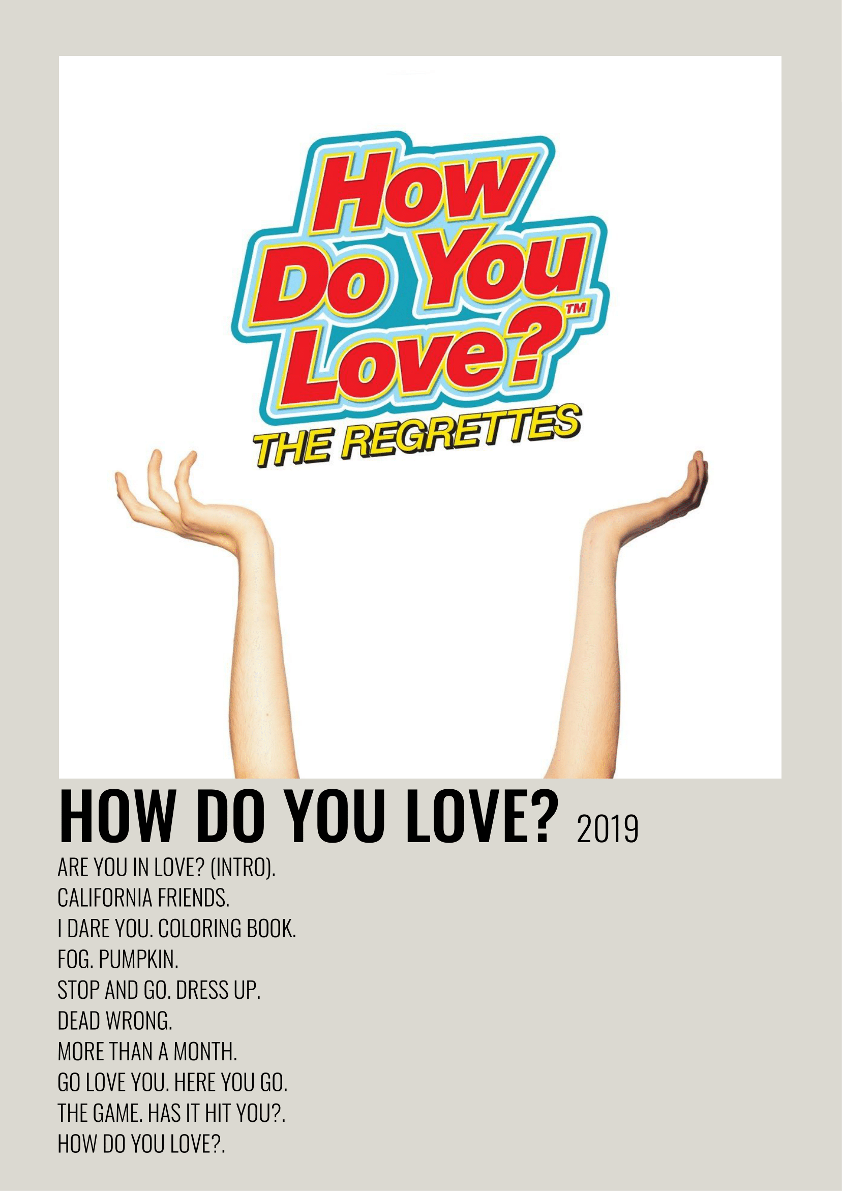 The Regrettes How Do You Love Music Cover Photos Music Poster Minimalist Poster