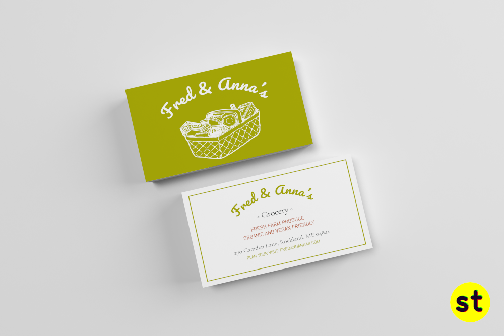 Fred Anna S Is A Business Card Design For A Fresh Farm Produce Grocery Store Download This Scribus Template For Free Makescribussexy