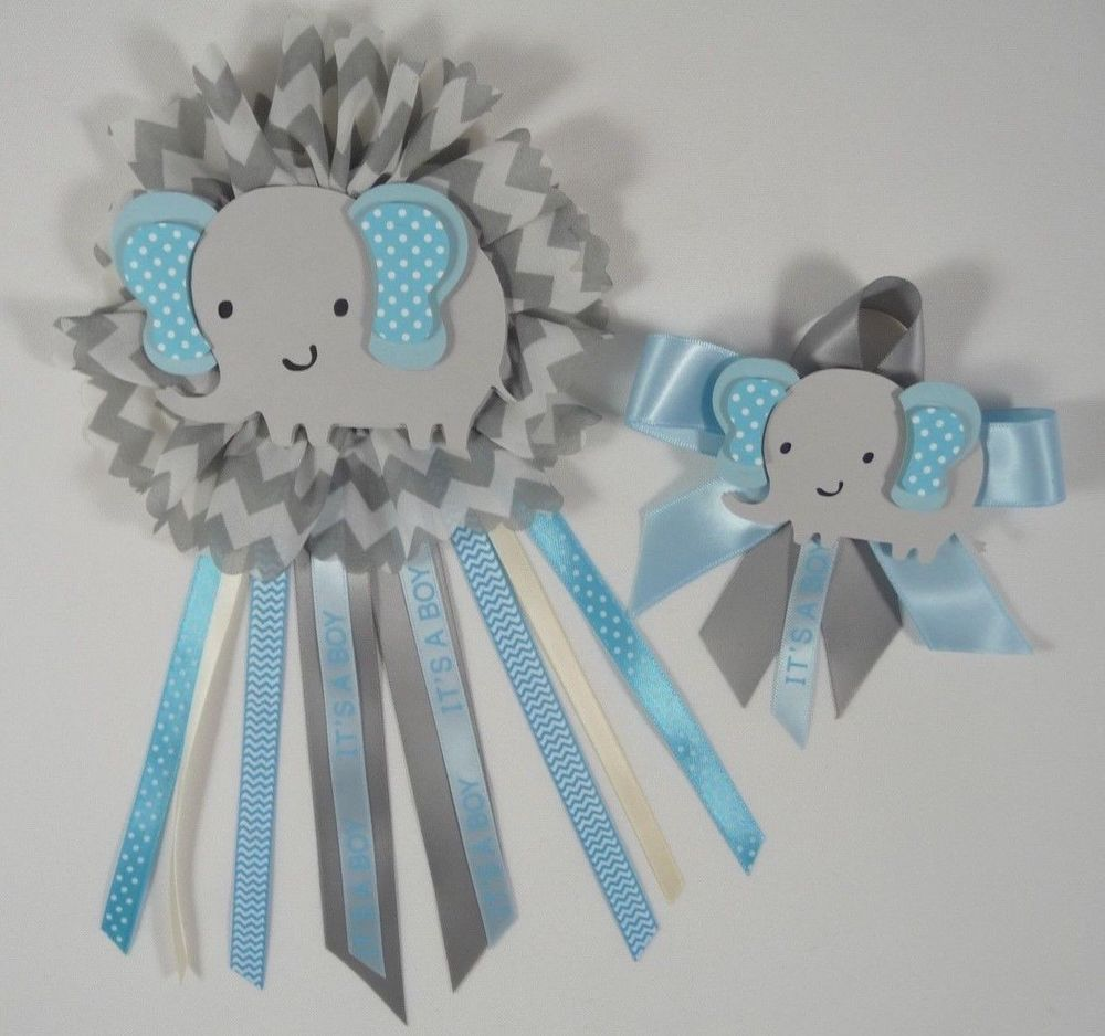 Marvelous Baby Shower Corsage, Elephant Theme, Blue And Gray Elephant 2 Pcs Ready To  Use