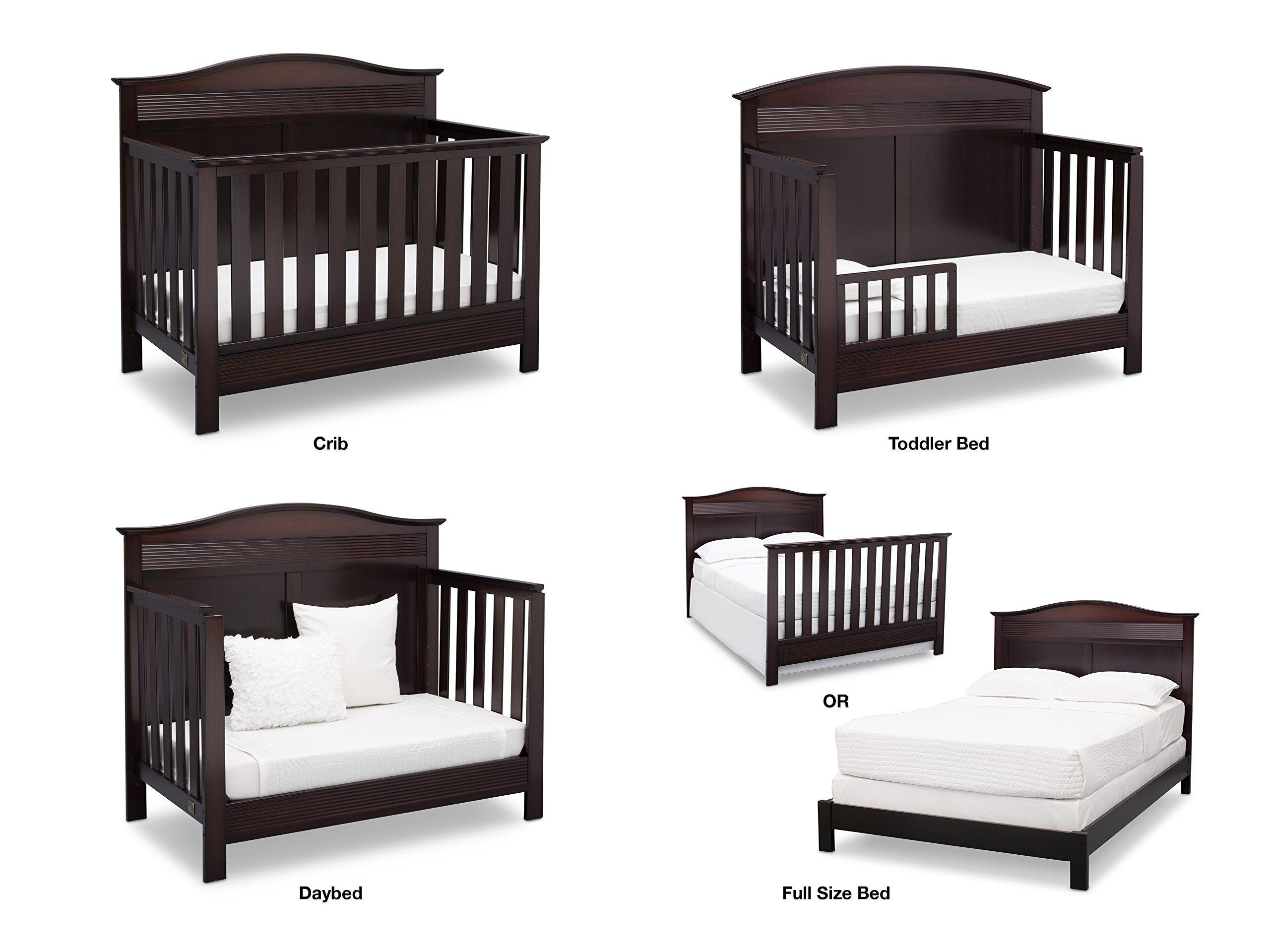 Serta Barrett 7piece Nursery Furniture Set Convertible Crib Toddler Rail Dresser Changing Top Bookcase Crib Matt Nursery Furniture Sets Cribs Convertible Crib Baby crib that converts to toddler bed