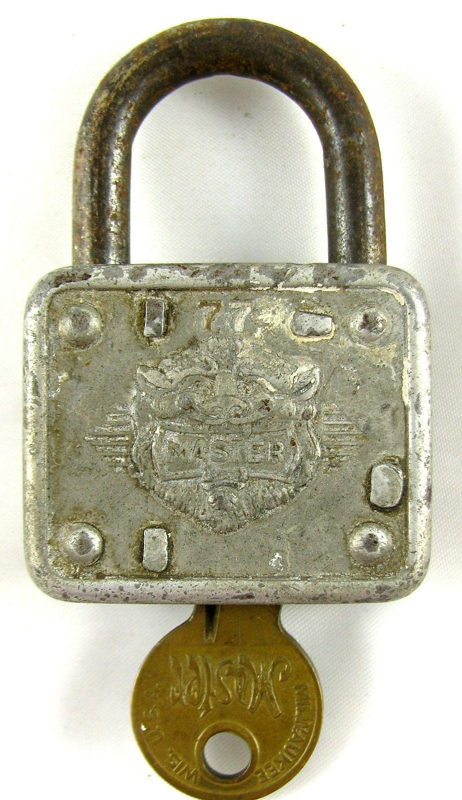 Master Lock Co Vintage Padlock 77 American Milwaukee Wi With Key