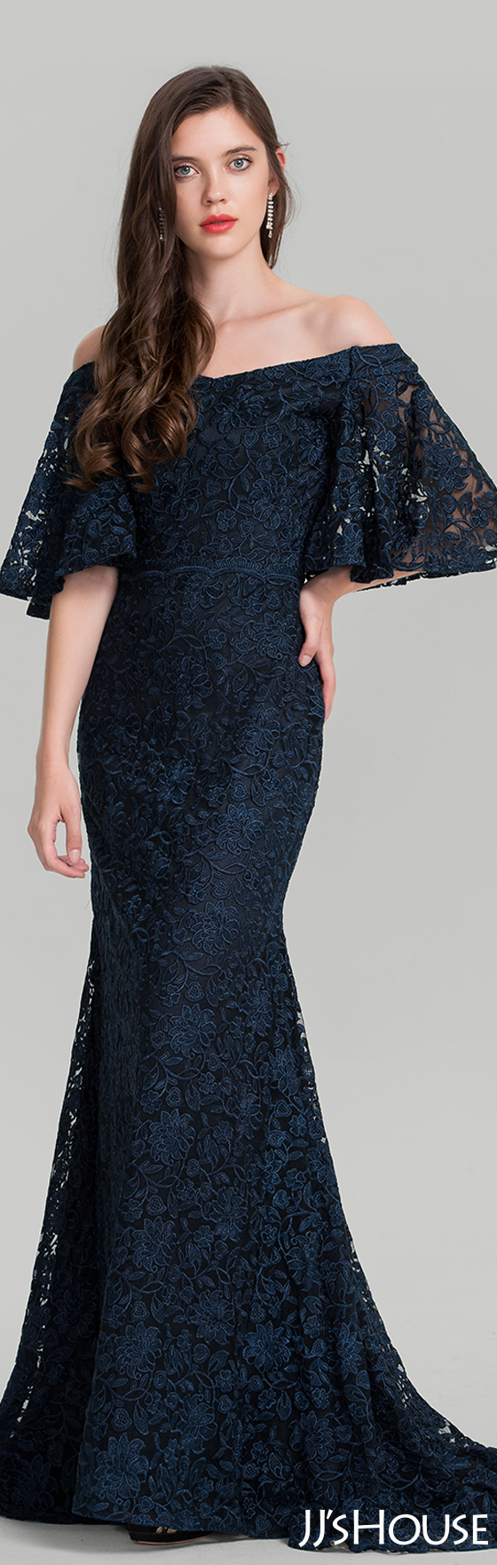 Trumpet/Mermaid Off-the-Shoulder Sweep Train Lace Evening Dress ...