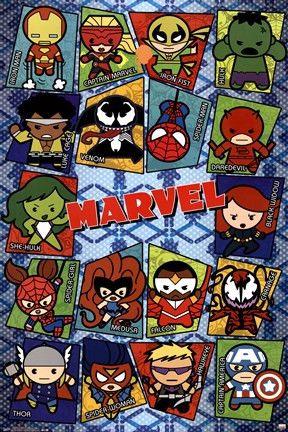 07df083bc Marvel Superheroes Kawaii Grid Poster