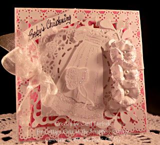 Carol Hurlock: Chocolate, Crafts, and Bears, Oh MY! for CottageBLOG: CottageCutz Christening Gown - 7/19/12  (CottageCutz: Christening Gown; Tam Tie Doily; Button Flower Mini; Greenery)