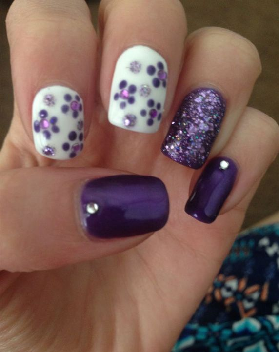 Purple And White Cute Nail Design - Purple And White Cute Nail Design 2 Do With Ur Hair,nails & Make