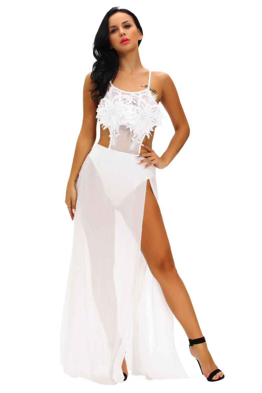 7cf65bf3d4db White Floral Applique Sheer Bodysuit Dress