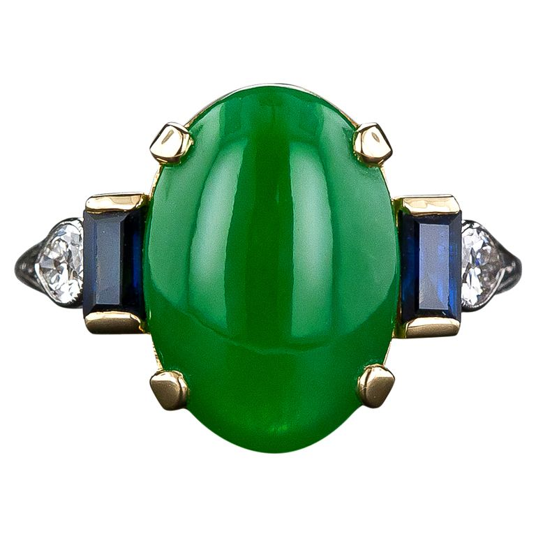 1930s art deco natural jade, diamond and sapphire ring