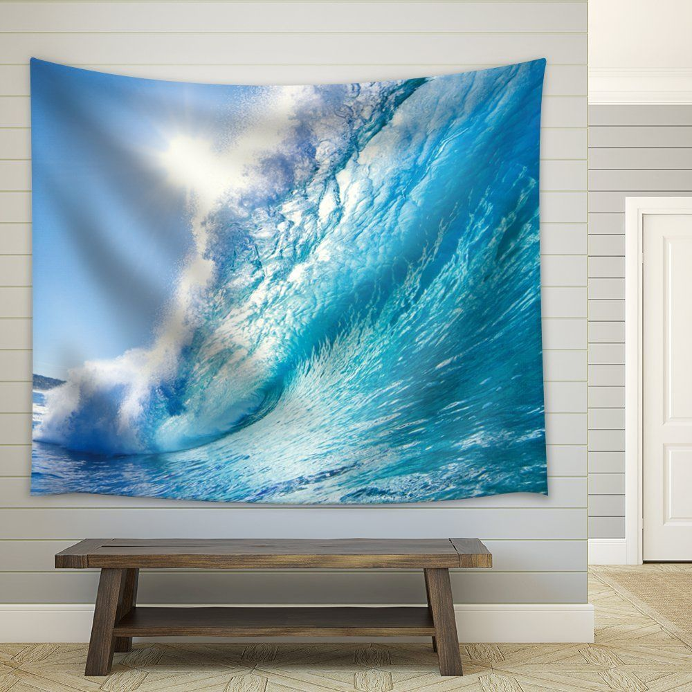 Amazon wall sun over a big ocean splashing wave fabric