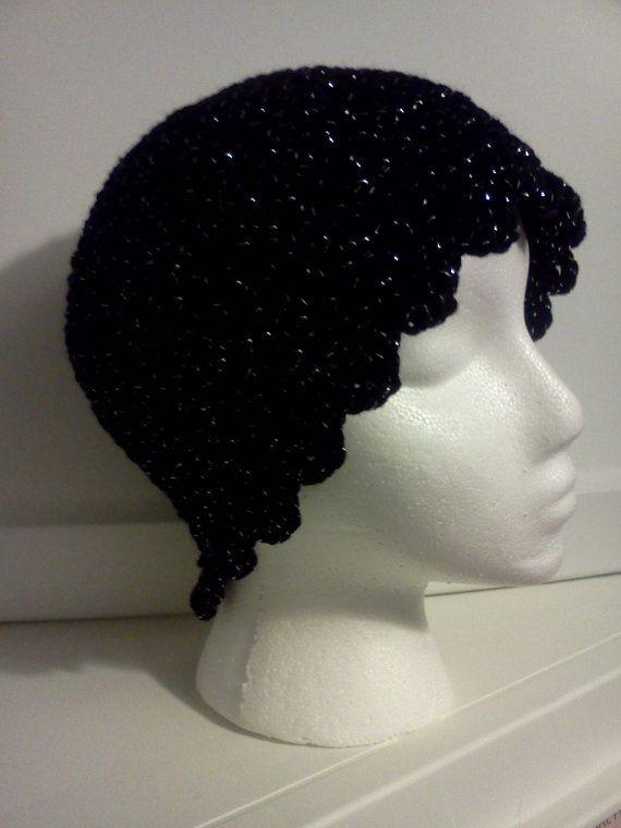 Ladies Hat in Soft Black Sparkles by grammalea on Etsy, $15.00