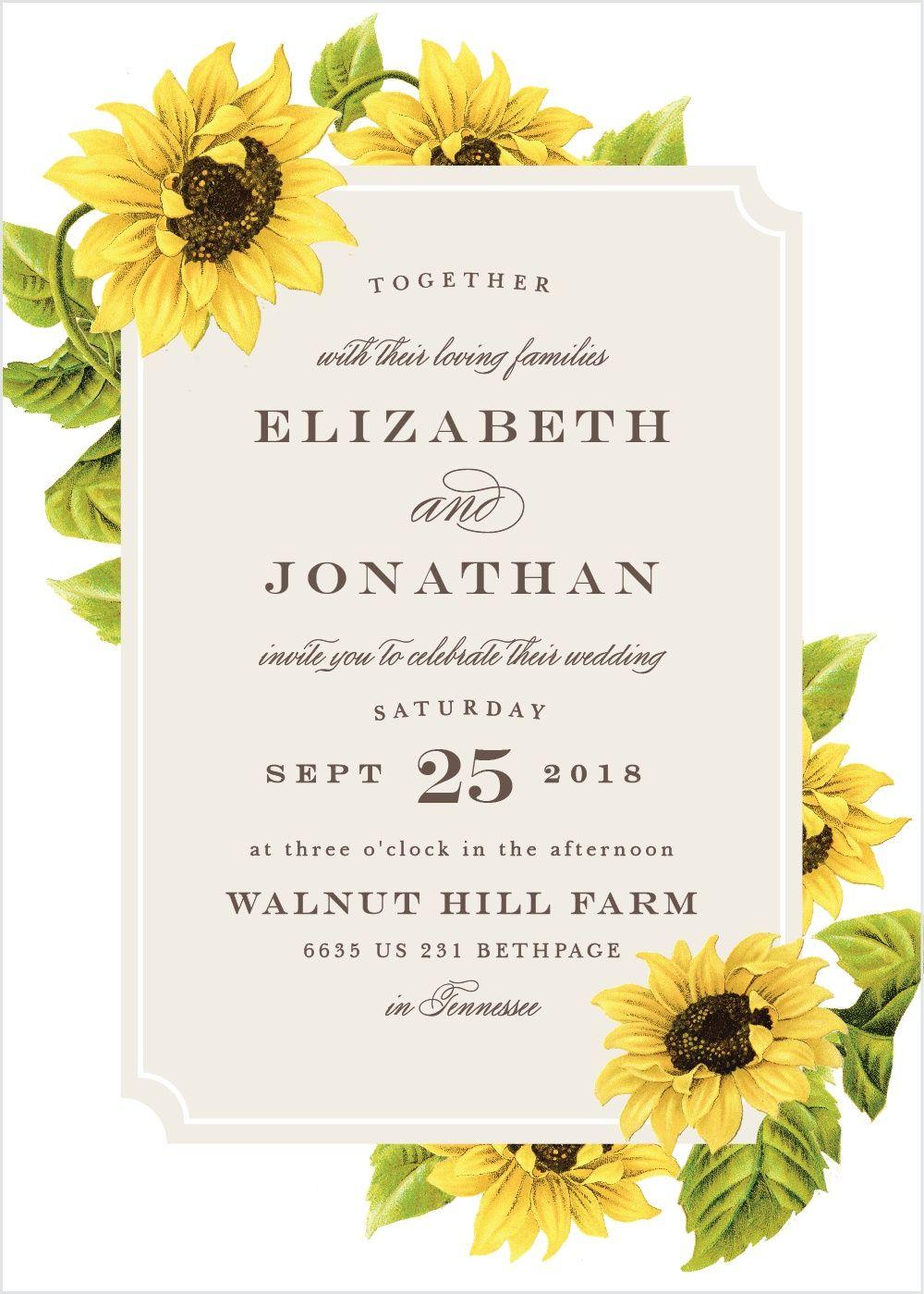 Sunflower Frame Wedding Invitations | Sunflowers, Weddings and ...