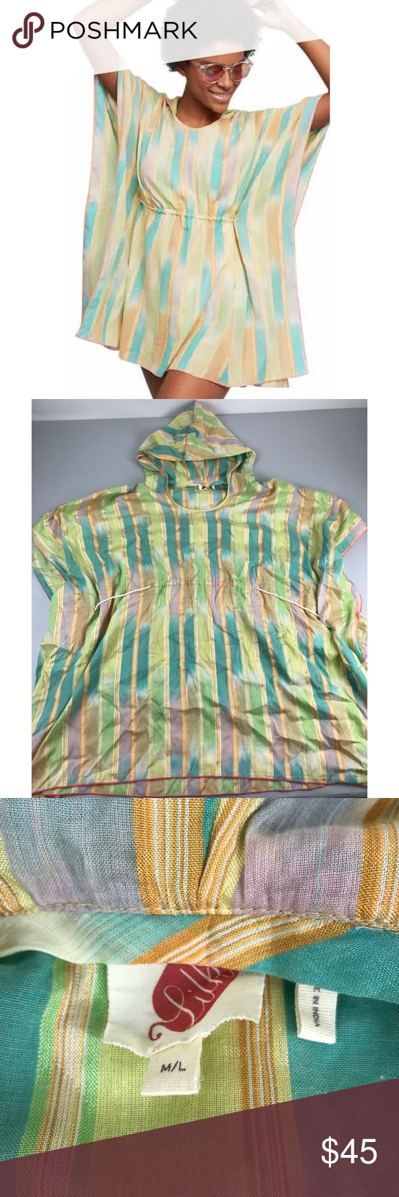 5ad600fc94f1 Anthropologie Lilka Pastel Yarn Dyed Striped Dress Anthropologie Lilka  Pastel Yarn Dyed Striped Hooded Beach Poncho Dress M L Tunic Great  condition.