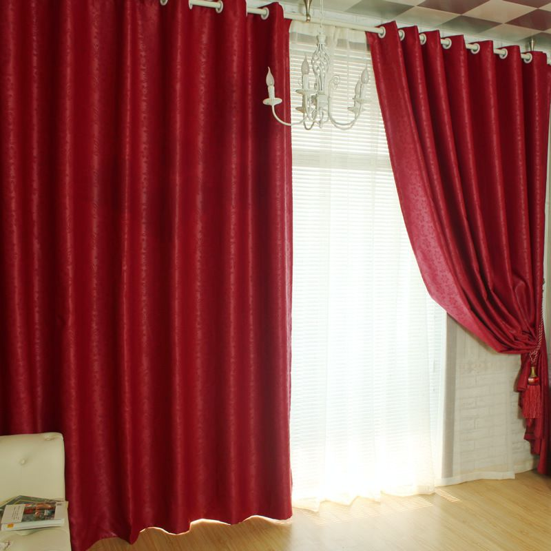 Glamorous Floral And Leaf Embossed Burgundy Blackout Curtains Two Panels