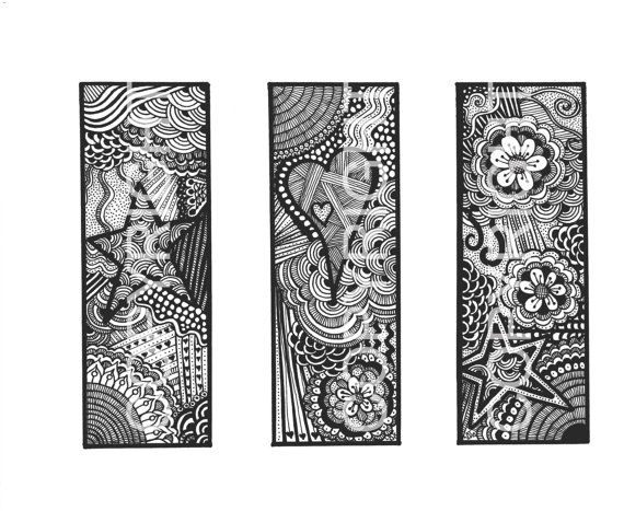 diy bookmarks instant pdf digital download printable coloring page hearts flowers stars