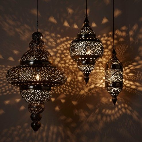 Moroccan Hanging Lamp Collection Bright Copper Vivaterra