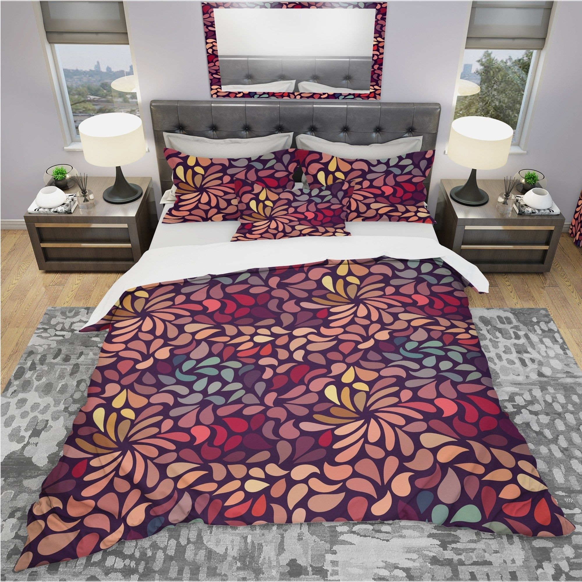 Designart Abstract Floral Pattern Bohemian Eclectic King Size Duvet Cover Set As Is Item King Duvet Cover Sets Eclectic Bedding Duvet Covers Floral