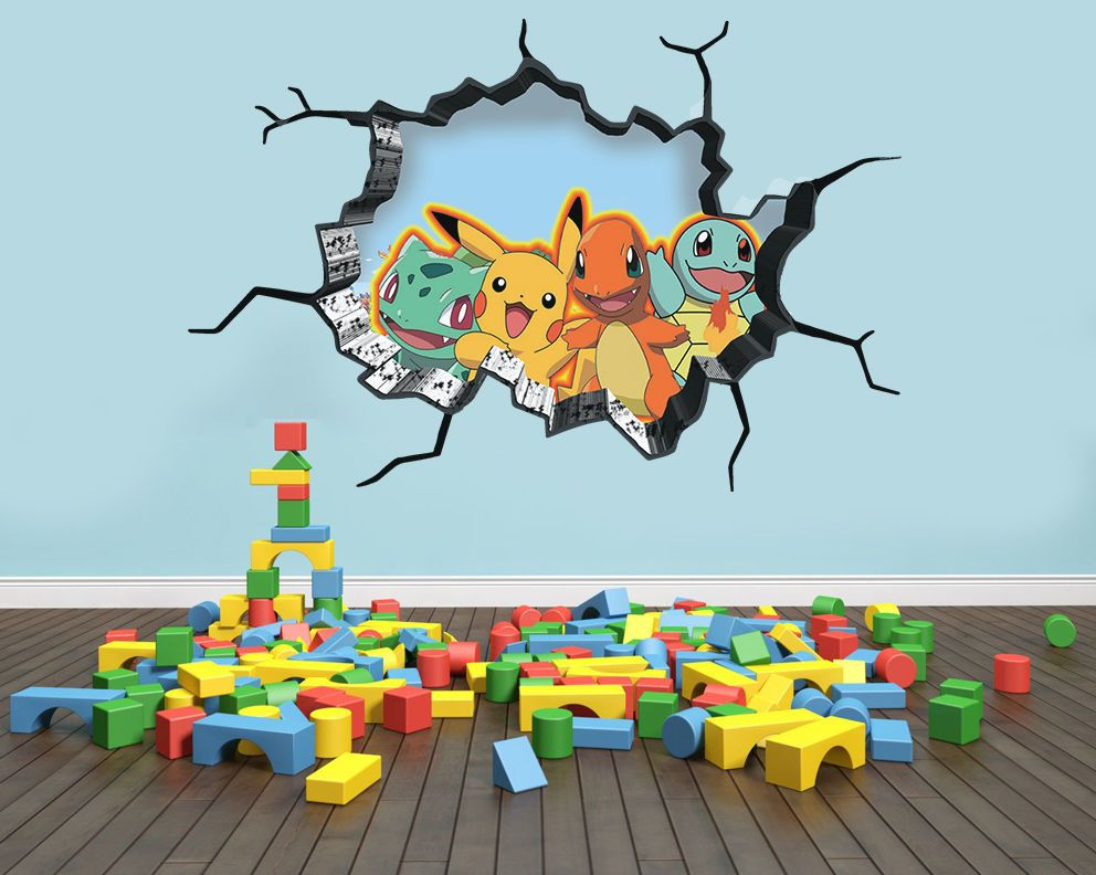 details about pokemon inspired wall art sticker decal 3d style smash art bedroom wall. Black Bedroom Furniture Sets. Home Design Ideas